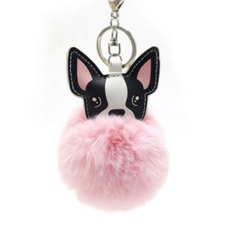 Fluffy keyring in pink
