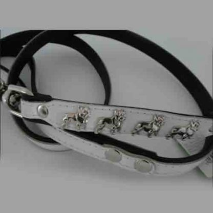 Leather lead with bulldog motif